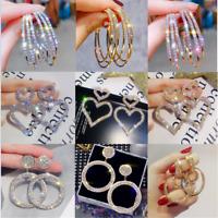 Fashion Geometric Circle Round Dangle Drop Ear Stud Earrings Women Party Jewelry