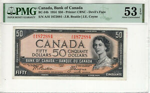 1954 $50 BANK OF CANADA DEVIL'S FACE BC-34B A/H PREFIX PMG ABOUT UNC 53 EPQ