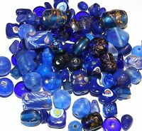 G2468 Dark Blue Fancy Lampworked Glass Assorted Mix Glass Beads 100-grams