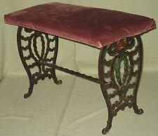 Vintage Decorative Wrought Iron Vanity Piano Bench Art Deco Style Velvet Seat