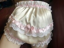 """Adult Baby Champagne Panties White Laces Pink Ribbons, Waist 38""""-42"""" Custom Made"""