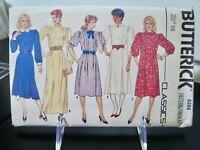 Butterick 6288 Classic DRESS Loose Fit A-Line Princess Seams Misses 16 FF UNCUT