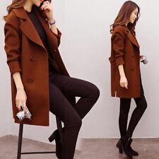 Women Winter Woolen Long Coat Casual Solid Slim Jackets Warm Overcoat Outwear~JP