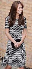 NEW NWT Tory Burch Paulina Fringe Black White ALine Dress UK 2 4 6 /US 0 2 / XS