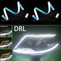 2Pcs Flexible White-Amber LED Strip Tube Light Daytime Running Turn Signal Lamp