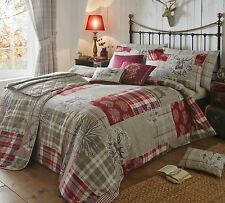 Light Beige, White & Red Woodland Animals  & Stags Single Duvet Cover Bed Set
