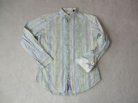 Robert Graham Button Up Shirt Adult Medium Green Purple Striped Flip Cuff Mens