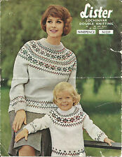 VINTAGE KNITTING PATTERN MOTHER & DAUGHTER SWEATERS WITH FAIR ISLE YOKES
