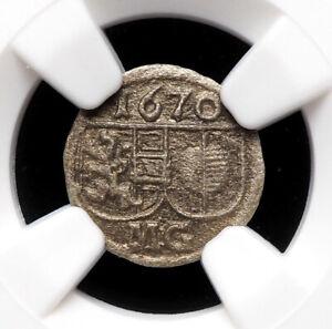 AUSTRIA, Salzburg. Silver Pfennig, 1670, NGC AU