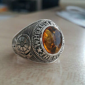 AMBER STONE LUCKY AMULET STONE 925 STERLING SILVER MENS RING NEW PUNK BIKER