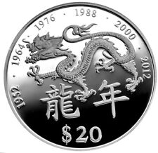 LIBERIA $20 2000 Silver Proof Millennium - Year of the Dragon