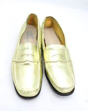 Vintage Shoes Gold Metallic Penney Loafers Womens Size 7 1960S For Design