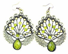 Vintage style enamel bronze and green coloured peacock bird charm earrings