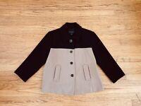 Banana Republic Womens Jacket Size PM Petite Black Beige Color Block 3/4 Sleeve