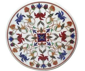 White Marble Patio Sofa Table Pietra Dura Art Coffee Table Top for Decor 24 Inch