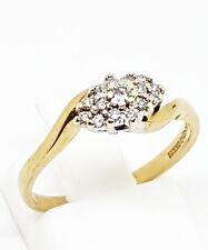 9ct Oro Giallo Anello Di Diamanti Cluster Anello Taglia L 1/2 completamente marchiato