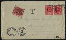 NIGERIA US 1920 US LAGOS TO CHICAGO NEW YORK POSTAGE DUE 2 CENTS & T MARKING