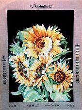 "Needlepoint tapestry canvas.Sunflowers 60x45 (24""x18"") Gobelin 14.852"