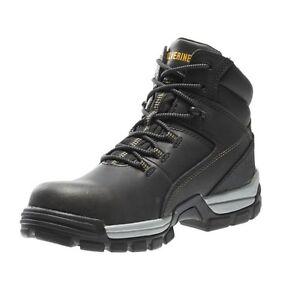 "Wolverine Men's Tarmac 10304 Black Leather 6"" WP + SR + EH Composite Toe Boot"