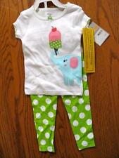 New Carters 2pc pants pajamas girls 2T  elephant with ice cream