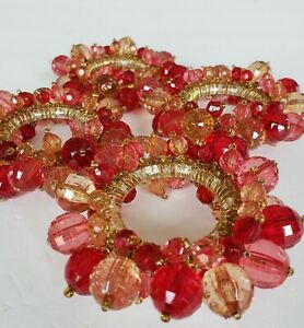 Pottery Barn 4 Napkin Ring Holders Campaign Pink Red Crystal Cut Glass Jeweled