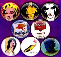 Andy Warhol x 8 NEW button pin badge set lot pop art velvet underground banana