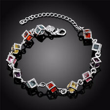 BEAUTIFUL 925 Sterling Silver Square Shaped Coloured Stone Bracelet IN GIFT BOX