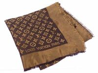 100% Auth Louis Vuitton Monogram Muffler Shawl Stole Silk Metal Brown N493