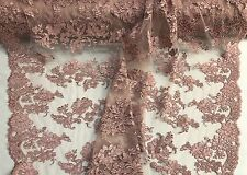 Dusty Rose Floral Design Embroider And Cord On A Mesh Lace-Fashion-Sold By Yard