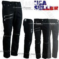 Mens Twill Pants Biker Moto Knee Zipper Casual Slim Fit Straight Cotton Trousers