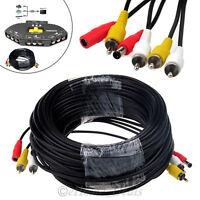 CCTV Security Camera DVR Phono RCA AV Audio Video DC Power Cable Plug 20M 30M