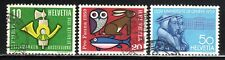 1959 Switzerland SC# 371-373 - Owl, Rabbit, Fish - 3 Different Stamps - Used -1
