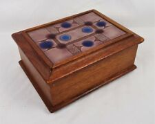 Vintage Mid Century Oak Wood Enamel Tile Trinket Jewelry Box