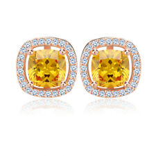 1CT Cushion Cut Colorful Cubic Zirconia Trendy Stud Earrings Rose Gold Plated