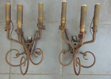 PAIR ANTIQUE FRENCH WW1 MILITARY PARTS WALL SCONCE LIGHTS UPCYCLED HAND FORGED