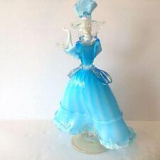 Vtg Huge Murano Glass Woman Dancer Figurine Blue Lattimo and Aventurine
