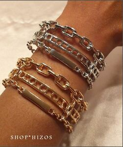 """GOLD or SILVER METAL TRIPLE CHAINED LINK 3"""" CUFF BRACELET NEW"""