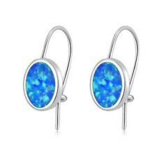 Silver Earrings 8 X 6 mm *New*Lovely Simple Blue Opal Oval 925
