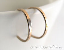 """Extra Tiny Gold Hoops - reverse hoop earrings 14kgf flat hammered 1/4"""" 5mm 8mm"""