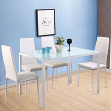 5pcs White Glossy Glass Dinning Table Set 4 Faux Leather Padded Chairs Kitchen