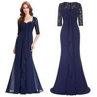Half Sleeve Lace Bridesmaid Prom Formal Evening Gown Mother of the Bride Dress