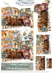 3D Trinitage Pop-up Card Making Paper Tole Christmas Stagecoach in Snow NEW