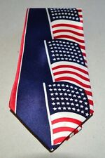 DAVELLE Red White Blue American Flag 100% Silk Tie USA Made