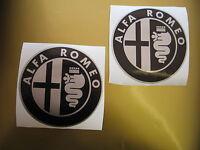 ALFA ROMEO Black & Silver Stickers  x2