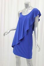 BETSY & ADAM Royal Blue Matte Jersey Mesh Shoulder Cocktail Dress 8