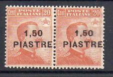 1922 LEVANTE 1,50 PIASTRE SU 20 CENTESIMI COPPIA INTEGRA MNH D/4630