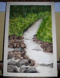 VINTAGE FOLK ART STREAM RIVER ROCKS WOODS NATURE PRIMITIVE NATURE OLD PAINTING