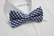 Men's Bowtie Tuxedo COTTON Bow Tie for Formal / Wedding ~ Blue Black White