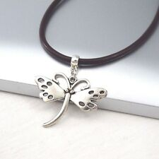 Silver Alloy Butterfly Wings Pendant 3mm Black Leather Cord Choker Necklace