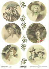 Rice Paper for Decoupage Scrapbooking, Christmas Vintage Lady  A4 ITD R610